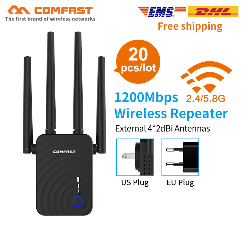 20PCS 5Ghz Wifi Repeater 802.11ac Network Wi Fi Routers 1200Mbs Range Expander Signal Booster Amplifier with 4 External Antennas|Wireless Routers| |  - title=