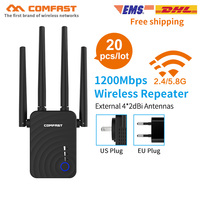 20PCS 5Ghz Wifi Repeater 802.11ac Network Wi Fi Routers 1200Mbs Range Expander Signal Booster Amplifier with 4 External Antennas