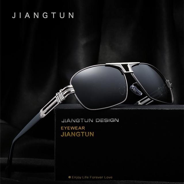 JIANGTUN Top Qualidade Da Marca Cool Designer Óculos Polarizados Dos Homens Óculos De Sol Proteger Acessórios Óculos De Sol Para Homens Com Caixa