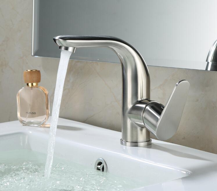 kitchen  304 Stainless Steel Single Hole Bathroom a Faucet Hot &Cold Water Tap High Class Brushed Deck Mounted Water Tap