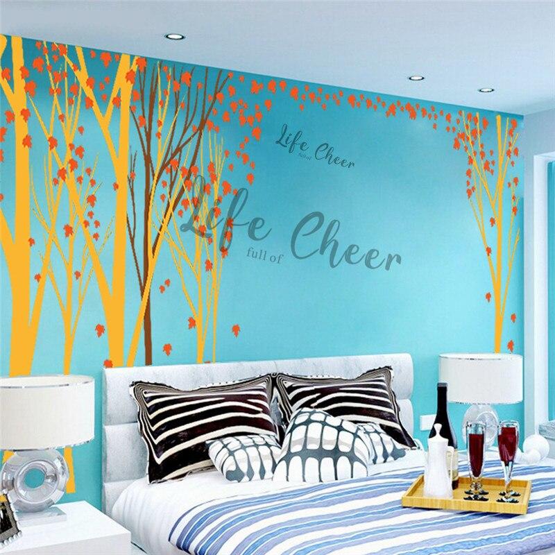Folha de bordo árvore vinil adesivo parede do berçário decoração do quarto tema floresta arte decalques da parede crianças outono árvores ac242 - 3