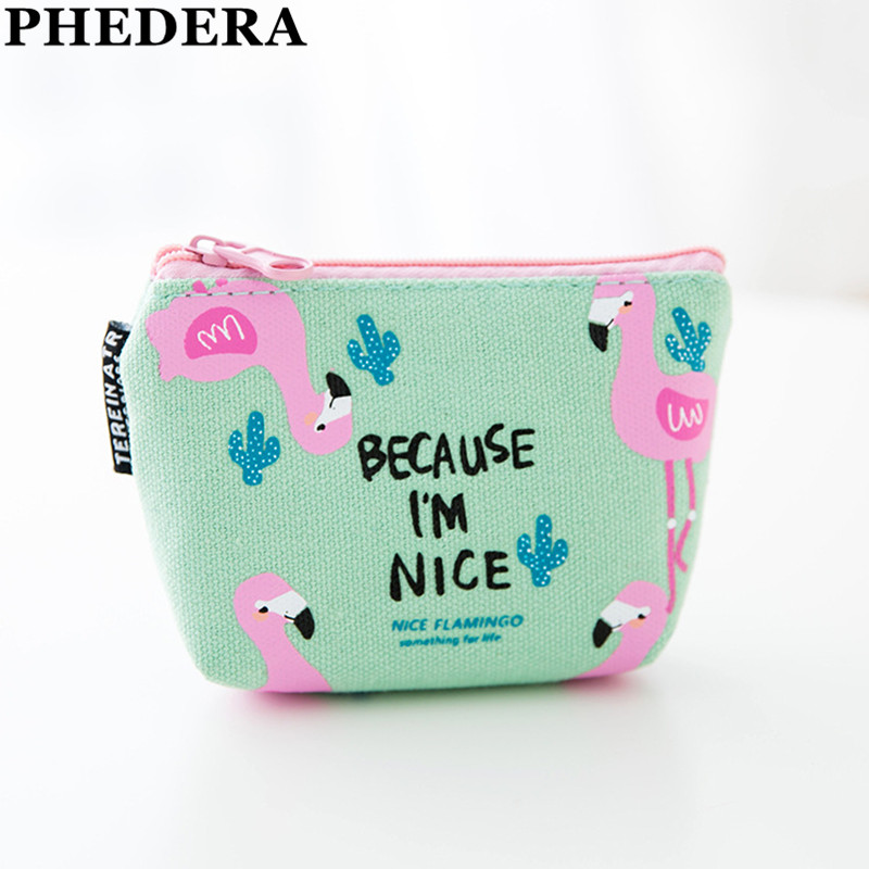 2018 New Canvas Women Coin Purse Fashion Female Mini Wallets Cartoon Cute Flamingo Coin Bag Small Brand Ladies Girls Key Pocket 2018 new style korean short wallet female fresh hollow out purse women brand coin pocket wallets for ladies simple girl mini bag page 1