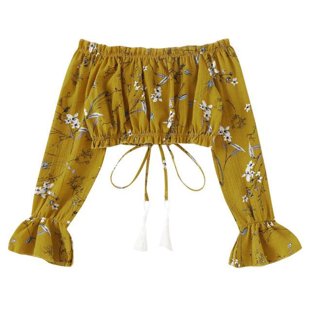 Verano mujer Sexy fuera del hombro chifón manga larga estampado Floral camiseta Venta caliente primavera recortada ropa moda Tops 2019