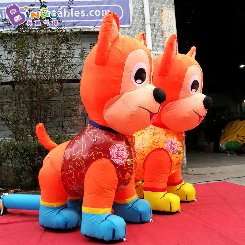 Китайский новый год 2 метра высокая большая надувная собака Подгонянный декоративный светодиодный светильник воздушно выдувная собака игр... - 5