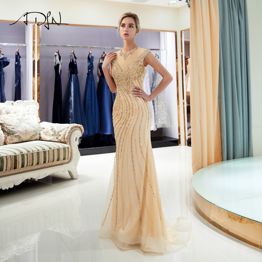 ADLN Luxury Mermaid Evening Dresses Sparkling O neck Sleeveless Gold Beading Sequins Formal Gowns Prom Dress