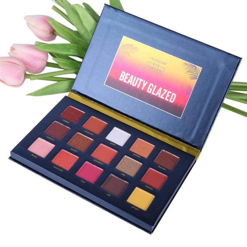 BEAUTY GLAZED Smoky Matte Eyeshadow Pallete Mixed Color Baking Powder Eye Shadow Palette Glitter Cosmetic Set