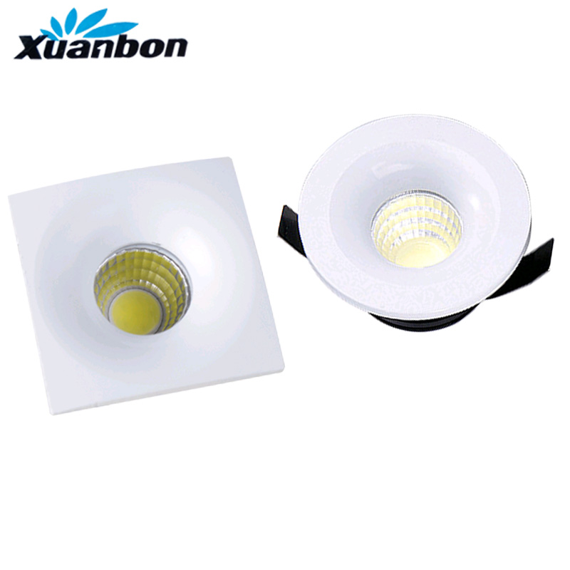 Dimmable LED COB Downlight 3W Square Round Mini Spotlight Ceiling AC85-265V White Lighting Bulb For Cabinet Counter Showcase