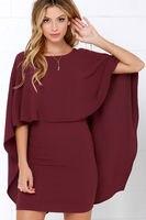 Elegant Cape Dresses Backless Ruffle Layered Bat Wing Sleeve Slim Women Dresses 2018 Spring Bodycon Dress