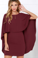 Elegant Cape Dresses Backless Ruffle Layered Bat Wing Sleeve Slim Women Dresses 2018 Spring Bodycon Dress