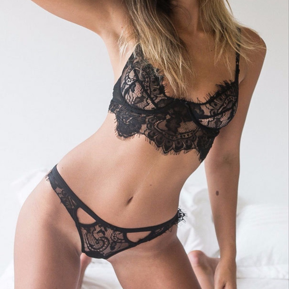 2b36ffee909 2019 Sexy Lingerie Open Lace Cage Bra G String Thongs Suspender Lingerie  Crochet Camisole Sex camis