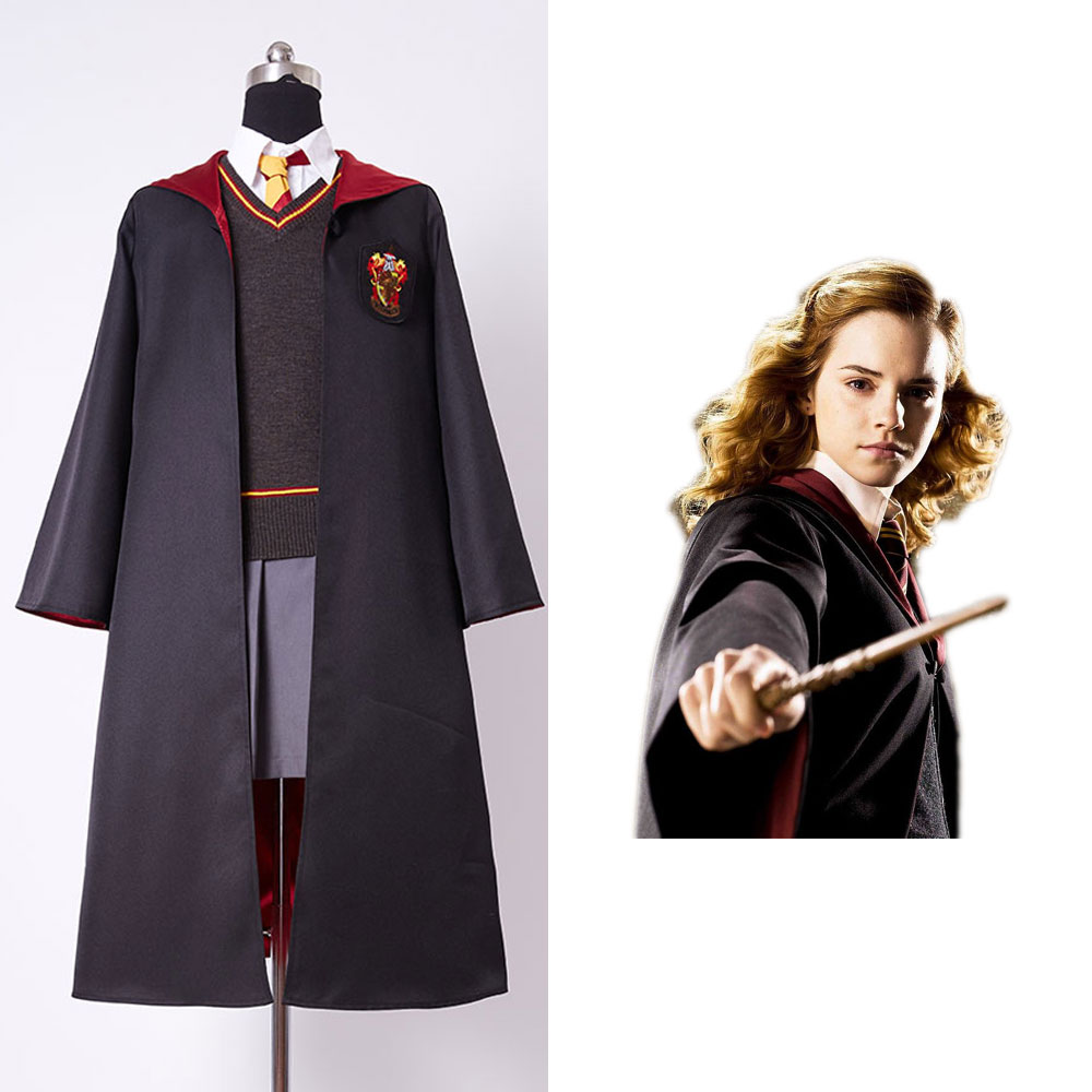 High Quality Gryffindor Uniform Hermione Granger Girls Cosplay Costume For Child Kids Custom Made Full Set Costume Magic Wand