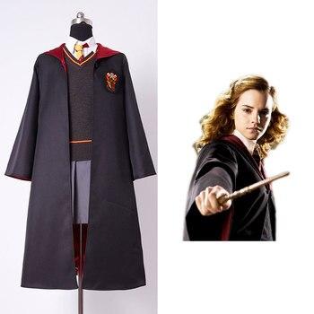 Hohe Qualität Gryffindor Uniform Hermine Granger Mädchen Cosplay Kostüm Für Kind Kinder Nach Maß Volle Set Kostüm Zauberstab
