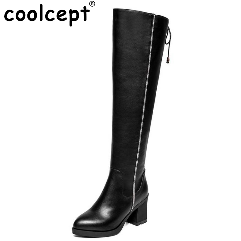 ФОТО Women Vintage Boots Genuine Leather Over Knee Boots Sexy High Heel Pointed Toe Riding Botas Winter Zipper Women Shoes Size 34-39