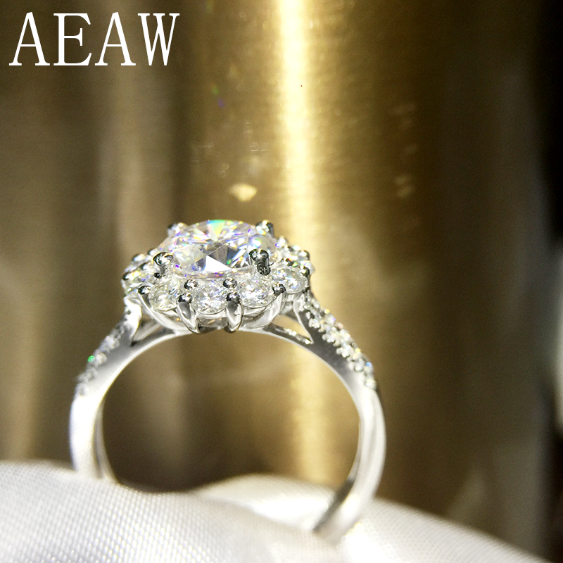AEAW 2 Carat ct 8mm Round Cut DF Color Engagement&Wedding Moissanite Diamond Ring Halo Ring Genuine 14K 585 White Gold недорого