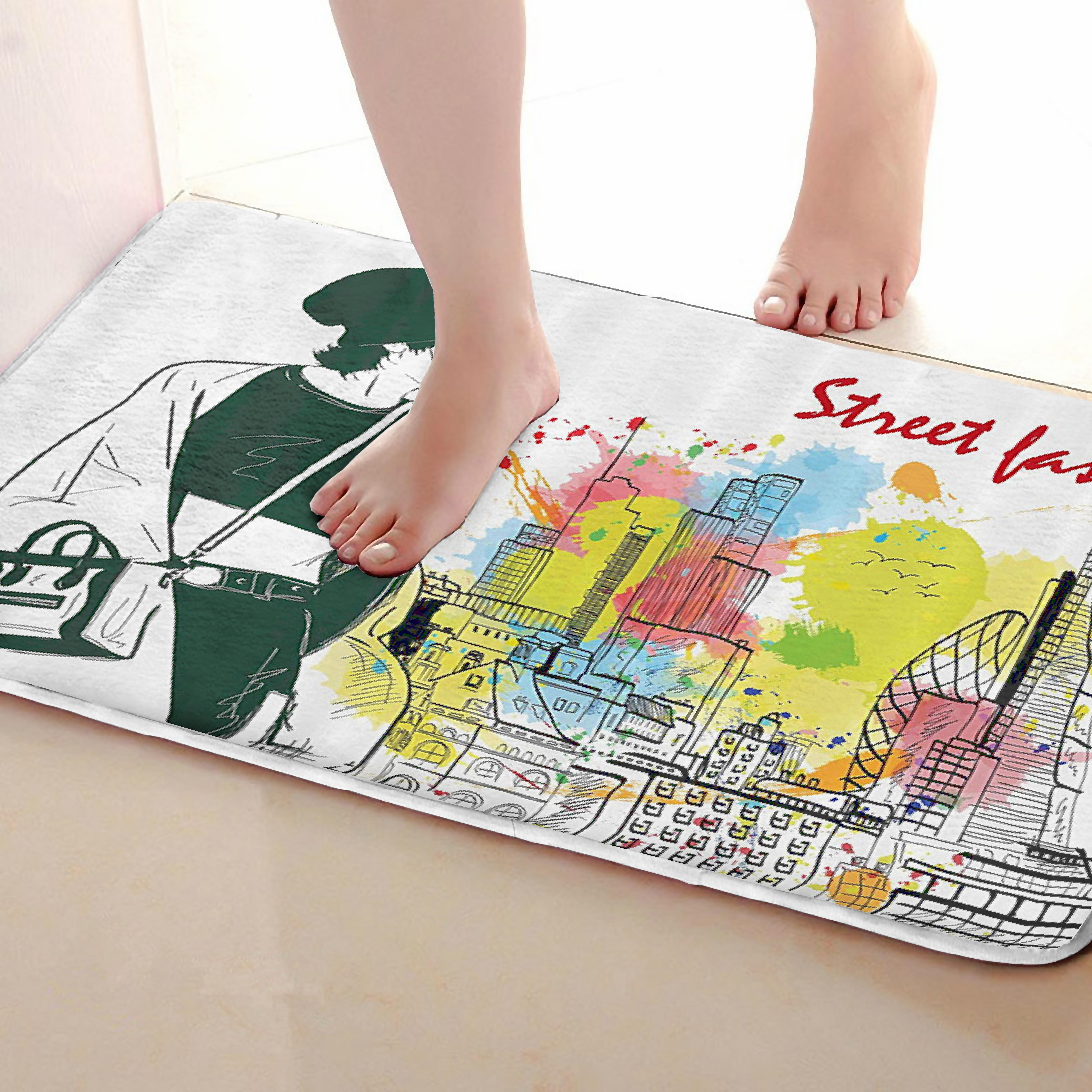 Girl Style Bathroom Mat,Funny Anti Skid Bath Mat,Shower Curtains Accessories,Matching Your Shower Curtain