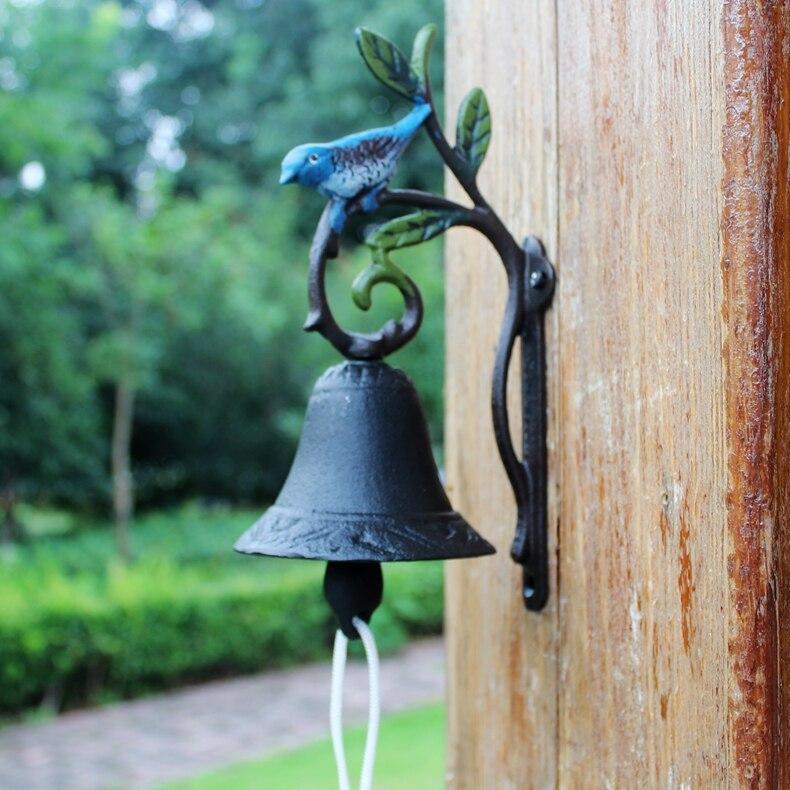 Cast Iron Bird On Leaf Welcome Dinner Bell Antique Wall Hanging Decorative Craft Metal Doorbell Outdoor Patio Garden Door Decor