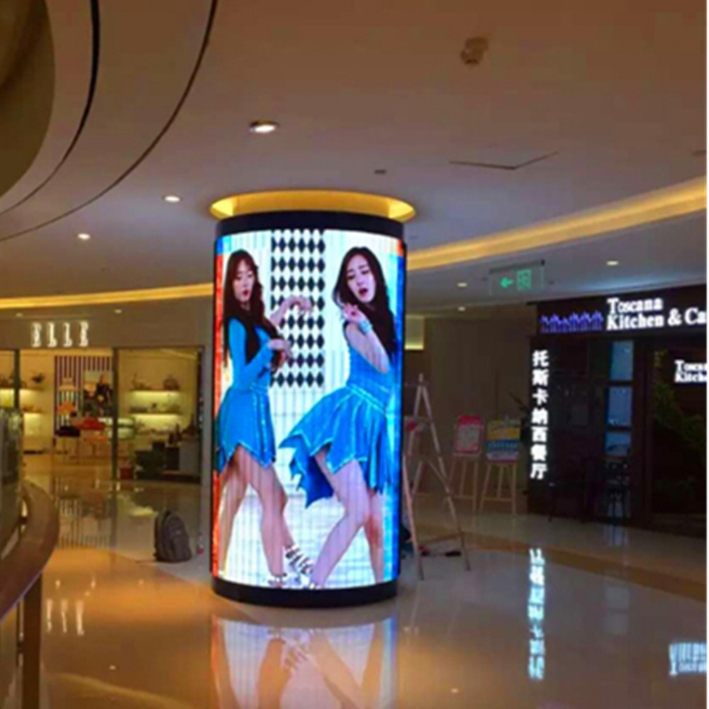 Écran d'affichage électronique polychrome d'intérieur de LED de P6/signe cylindrique de LED/écran de publicité en trois dimensions