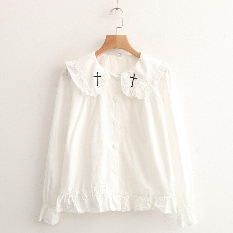 Size m l white cotton shirts front peter pan back sailor for White cotton shirt peter pan collar