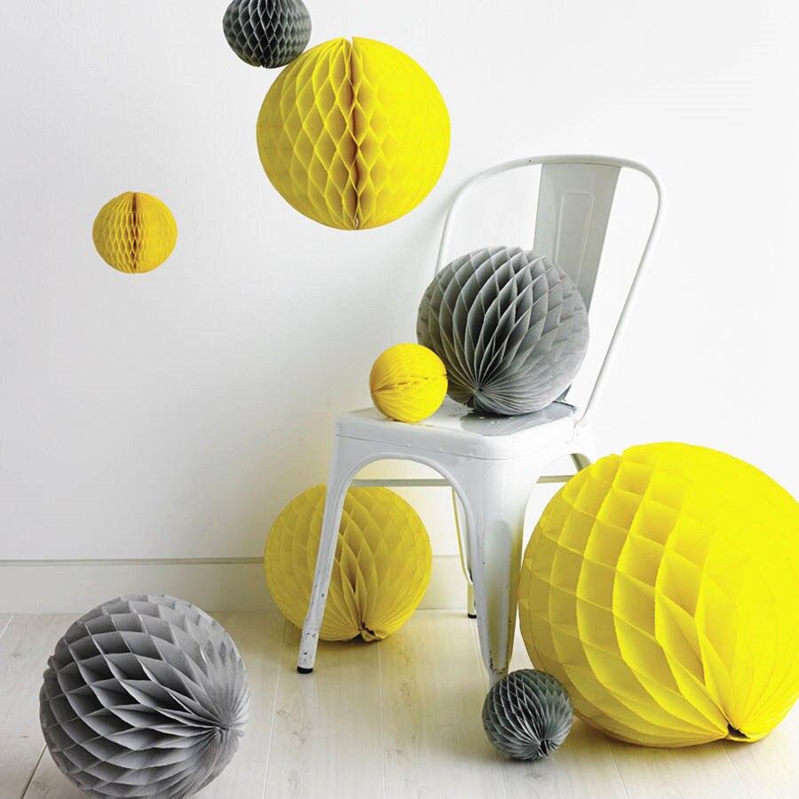 Free Shipping 400pcs Tissue Honeycomb Balls Grey And Bright Yellow