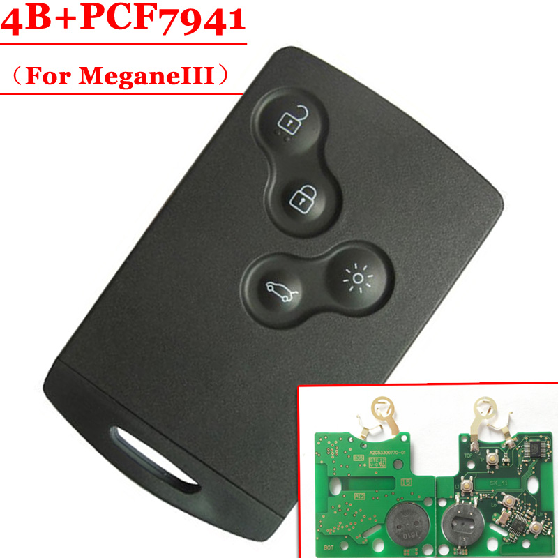 New Free shipping  1pcs  4 Button remote Card with pcf7941 chip 433MHZ for renault Megane III Laguna III Smart Card  before 2016