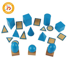 Montessori Material Wooden Toy Small Geometric Solids with Stands Home Mini Practical Kid