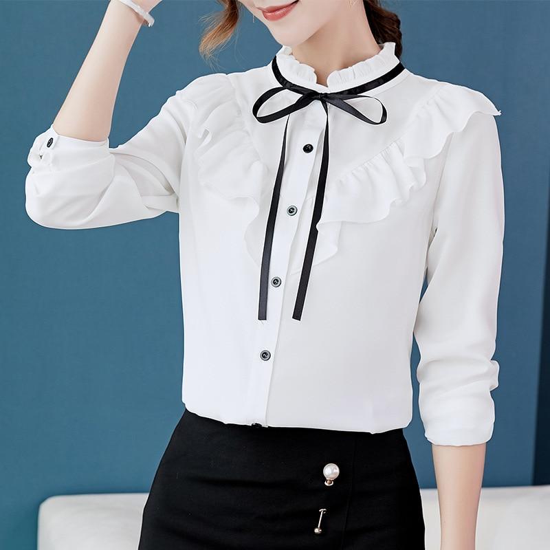 Arco Camisas Femenino azul Mujeres Oficina Camisa Marca Elegante Oro Blusa Blancas Blusas blanco Larga Otoño Primavera Alta Cuello Manga Calidad Real De Botón Las qnwBFBC06O