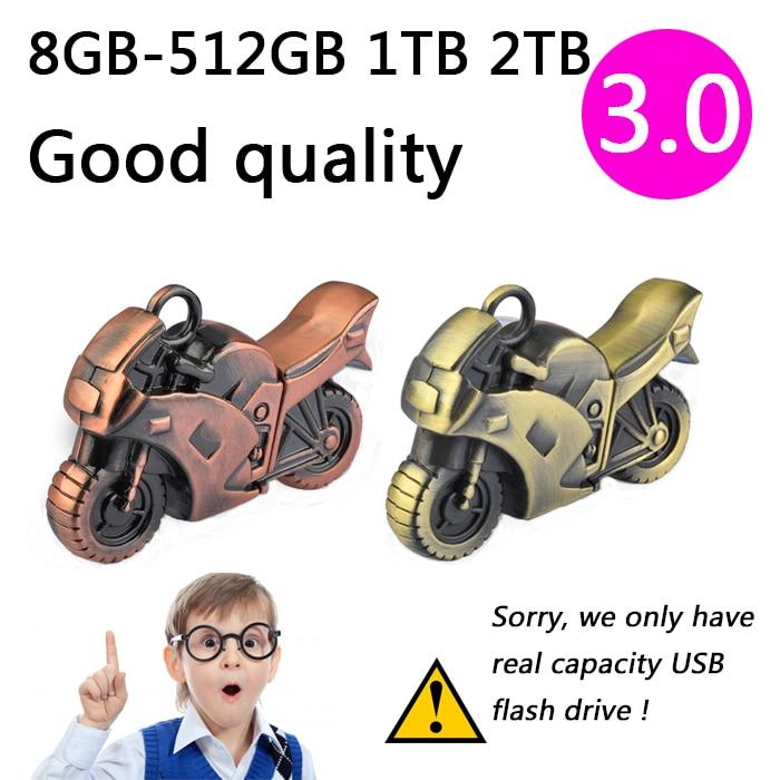 H2testw Passed Metal Motorcycle 32GB 64GB Mini USB 3.0 Flash Pen Drive Cool Gift Pendrive 2TB 1TB 512GB Creative Memory Stick