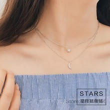 925 Sterling Silver Long Star Moon Choker Necklaces Pendant Fashion Sterling Silver Jewelry Double Chain Statement Necklace(China)