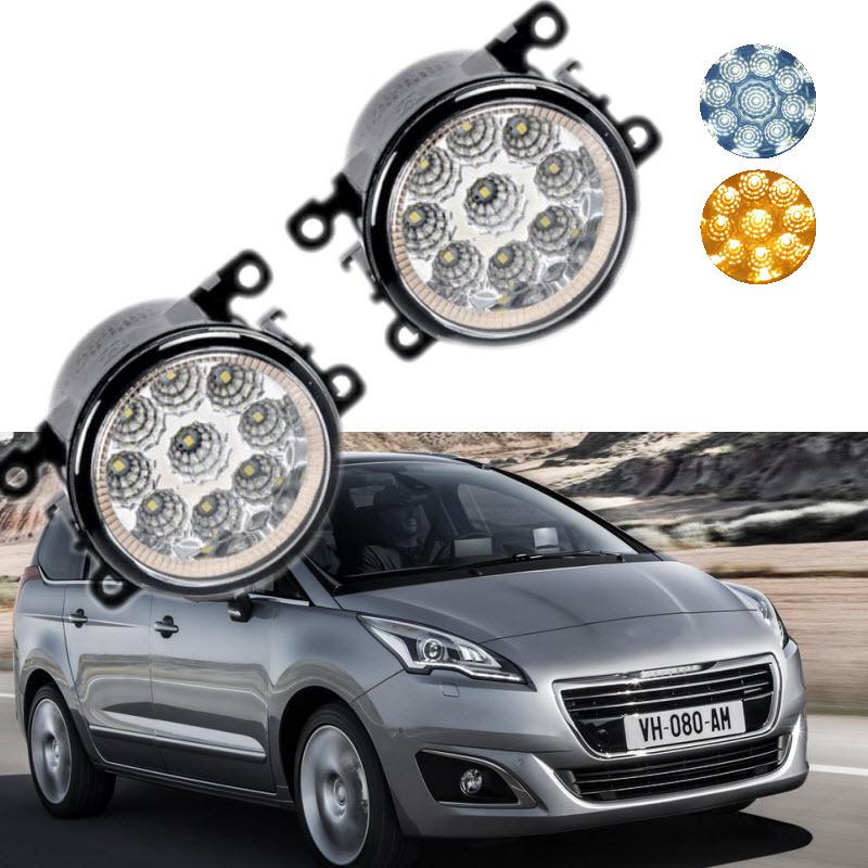 Car-Styling For Peugeot 5008 2009-2017 9-Pieces Leds Chips LED Fog Light Lamp H11 H8 12V 55W Halogen Fog Lights car styling for dacia renault sandero 2010 2016 9 pieces leds chips led fog light lamp h11 h8 12v 55w halogen fog lights