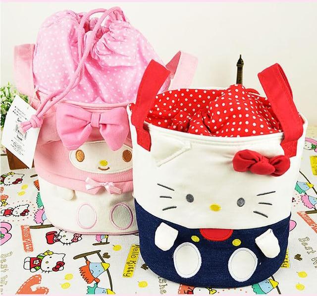 73ff4cf7d Small Size Kawaii Bowknot Hello Kitty My Melody Barrel Design Canvas Makeup  Storage Bag Organizer