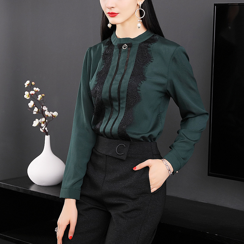 Здесь продается  Chiffon slim long sleeve pullovers blouse 2018 new runway women spring summer shirts high quality office lady lace tops  Одежда и аксессуары