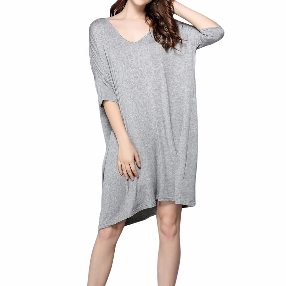 Women's V-Neck Half Sleeve T-Shirt Dress Loose Nightshirt Sleepwear   Nightgown     Sleepshirt   Female Sleepwear Home Clothing Homewear