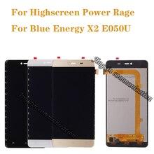 5.0 นิ้วสำหรับ Highscreen Power Rage จอแสดงผล + หน้าจอสัมผัส digitizer แทนที่ Blue Energy X2 E050U LCD อะไหล่ซ่อมฟรีการจัดส่ง