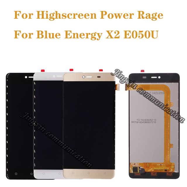 5.0 inç Highscreen Güç Rage Için ekran + dokunmatik ekran digitizer değiştirir Mavi Enerji X2 E050U LCD onarım parçaları Ücretsiz kargo
