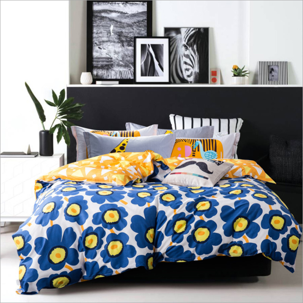 Yellow and blue bedding - 100 Cotton Printed Rabbit Deer Fish Tree Grass Pattern Duvet