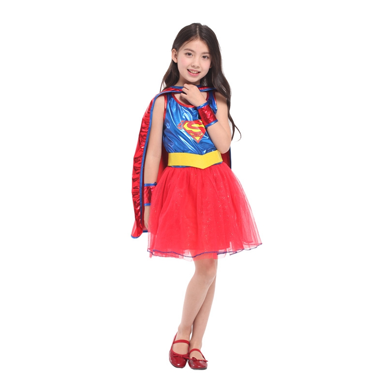 Umorden Girls Superman Cosplay Children Halloween Super Girl Costume Kids Christmas Carnival Masquerade Show Party Tutu Dress