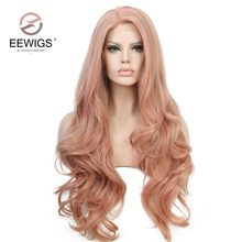 EEWIGS 28inch Peach Color Long Wavy Wig Rose Pink Synthetic Lace Front Wig With Natural Hairline Glueless Wigs For Women(China)