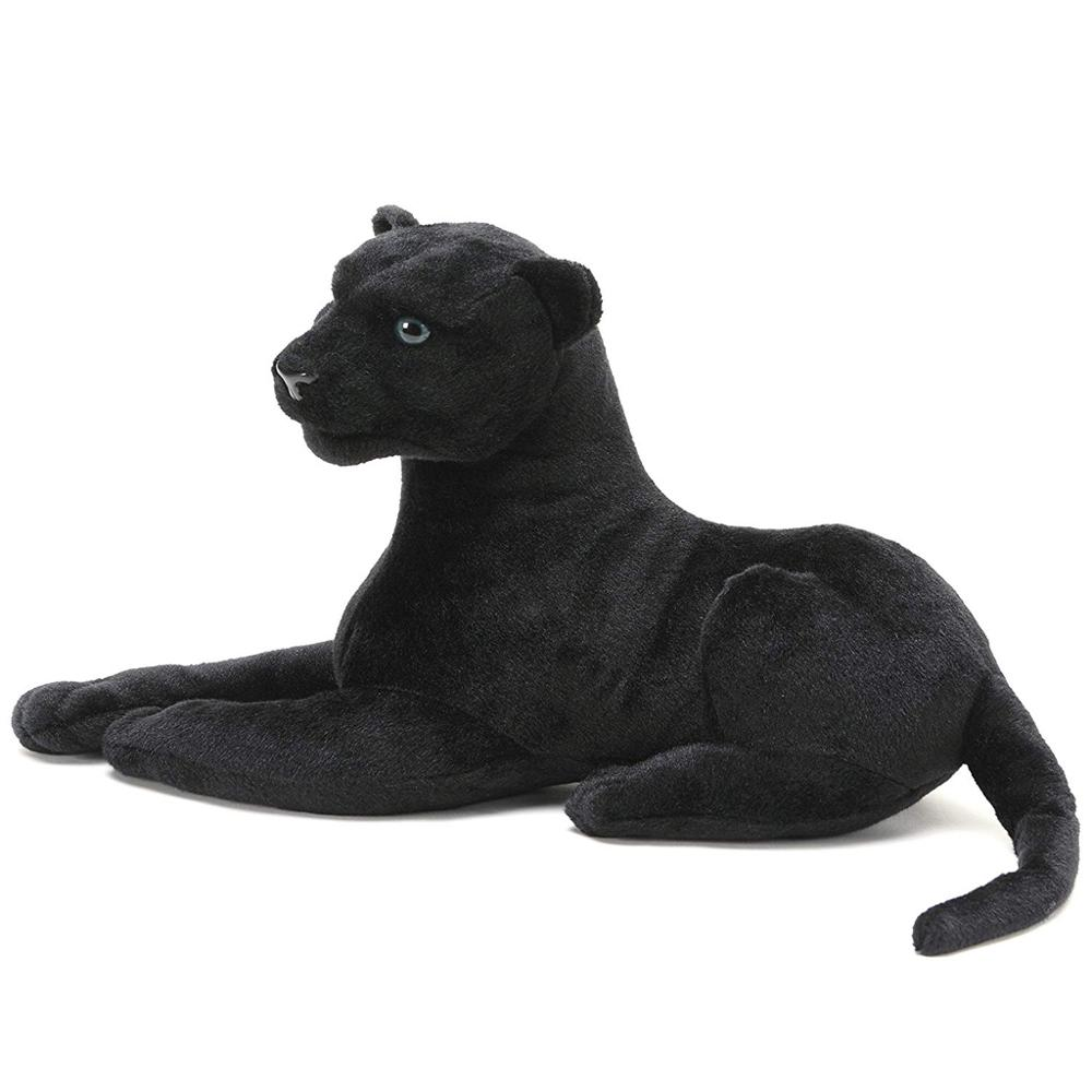 Black Panther | Stuffed Animal Black Leopard Plush Cat |  Realistic Animal Toy Side Lying Gesture Home Decoration Gift Giving