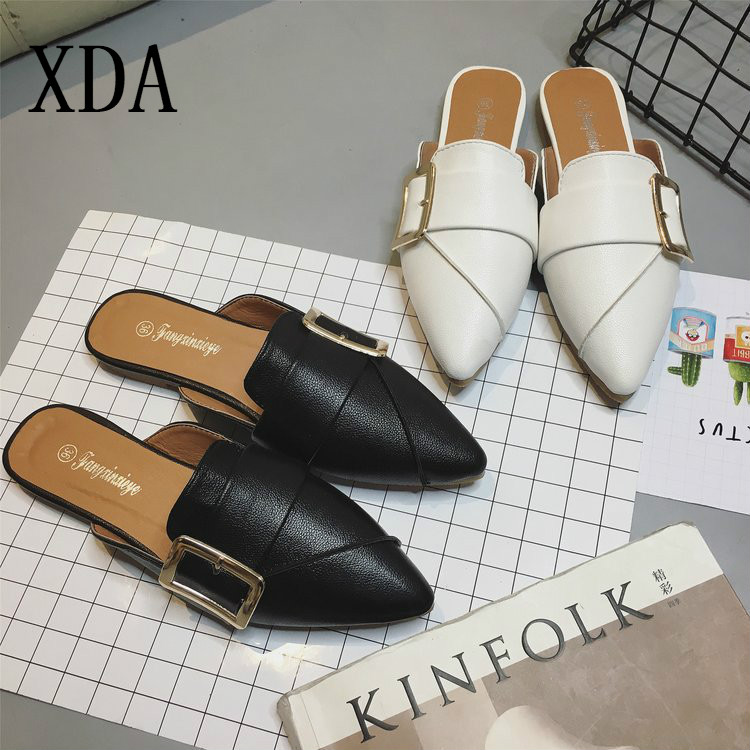 XDA2019 summer slipper Slim Fashion Casual sandal Pointed Toe Woman Female Slipper Slip On Loafers Flat Buckle single Shoes L289 slipper
