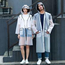 Новинка, Модный женский плащ-дождевик из прозрачного материала EVA, водонепроницаемый плащ для путешествий, дождевик для взрослых, пончо с карманом