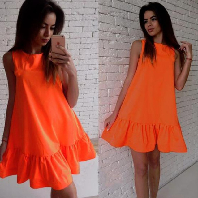 656ce9e26e5d Summer Dress A Line Dress Solid Color Sleeveless Girl Short Casual ...