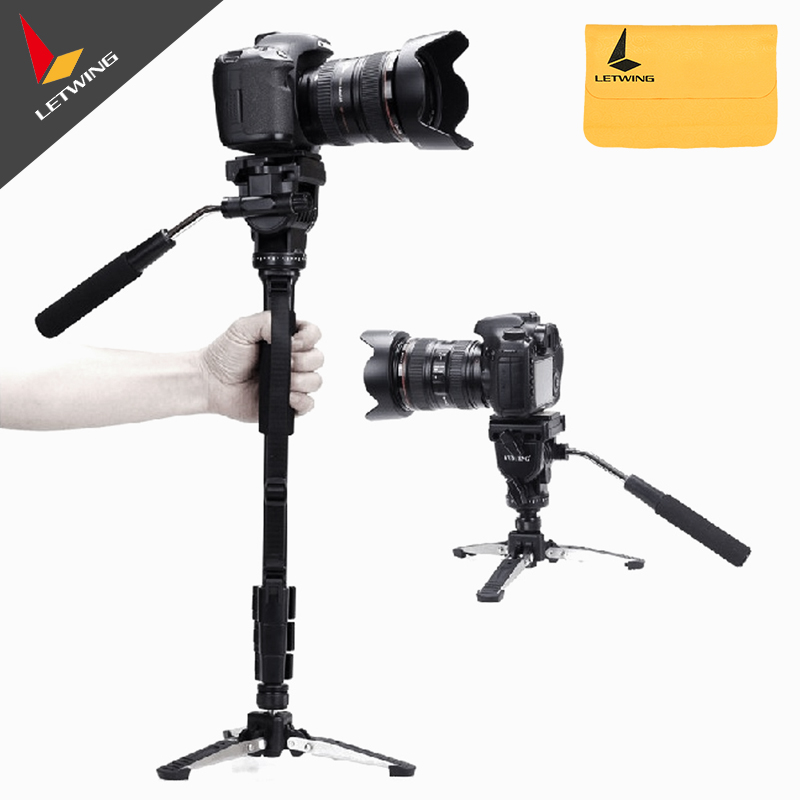 Newest Yunteng VCT-288 Camera Monopod + Fluid Pan Head + Unipod Holder For Canon Nikon and all DSLR with 1/4