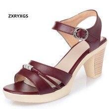 Zxryxgs Брендовые Босоножки Летние Женские сандалии Новая мода стразы босоножки на высоком каблуке натуральная женская кожаная обувь женские босоножки