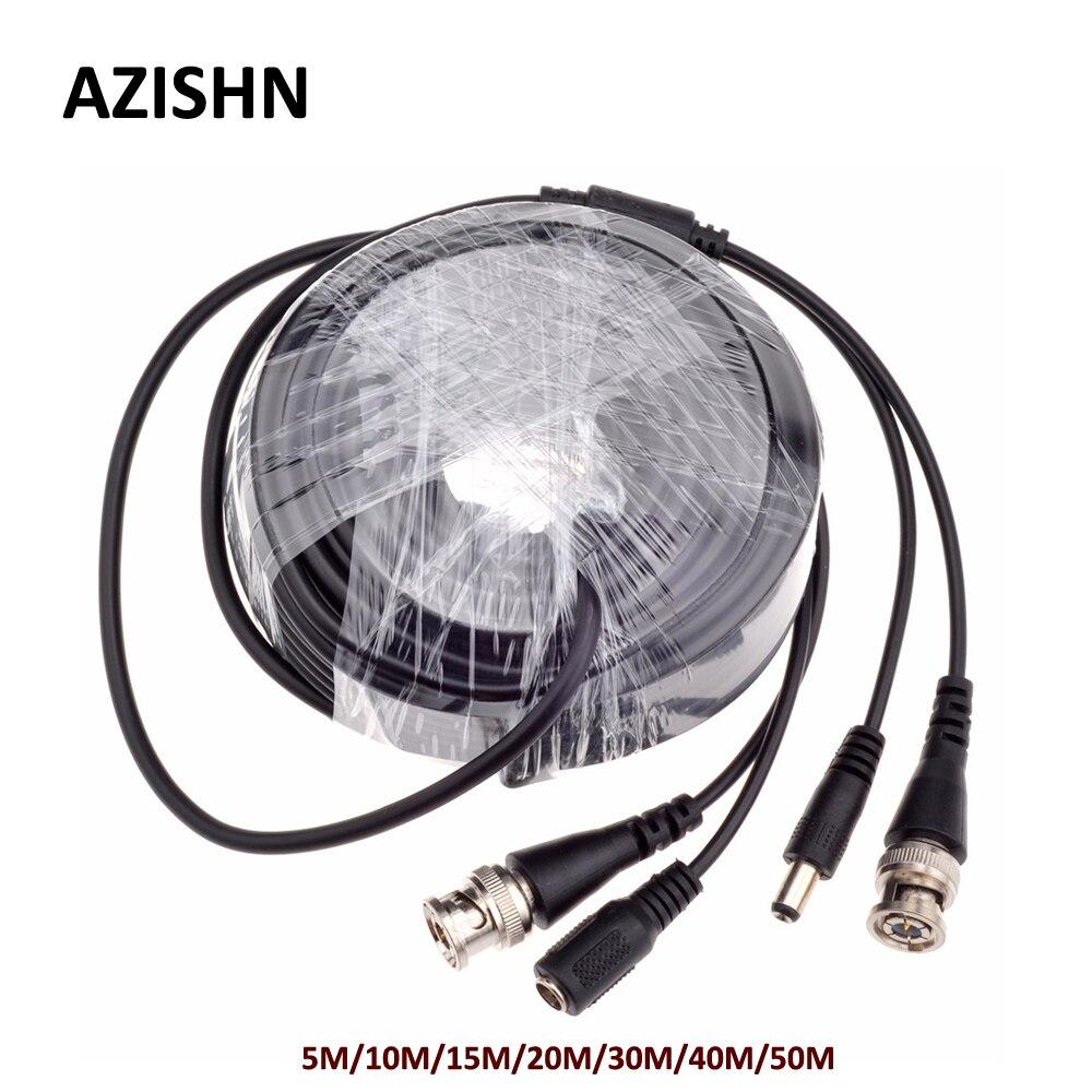 AZISHN CCTV BNC Puissance/vidéo Câble 5 M/10 M/15 M/20 M/30 M/40 M/50 M CCTV Câble Vidéo Sortie DC Plug Câble pour AHD/Analogique cctv caméra