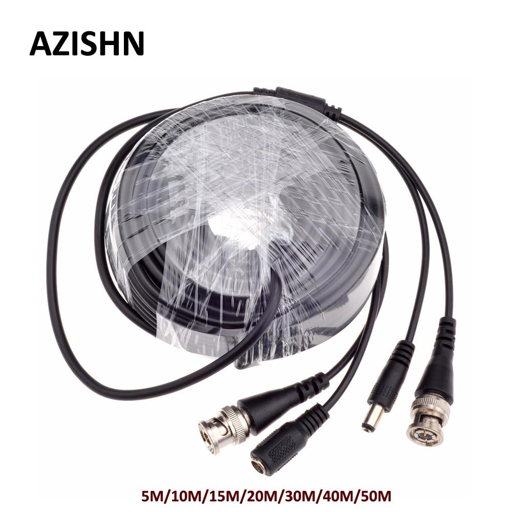 AZISHN CCTV BNC Power/video Cable 5M/10M/15M/20M/30M/40M/50M CCTV Cable Video Output DC Plug Cable For AHD/Analog Cctv Camera