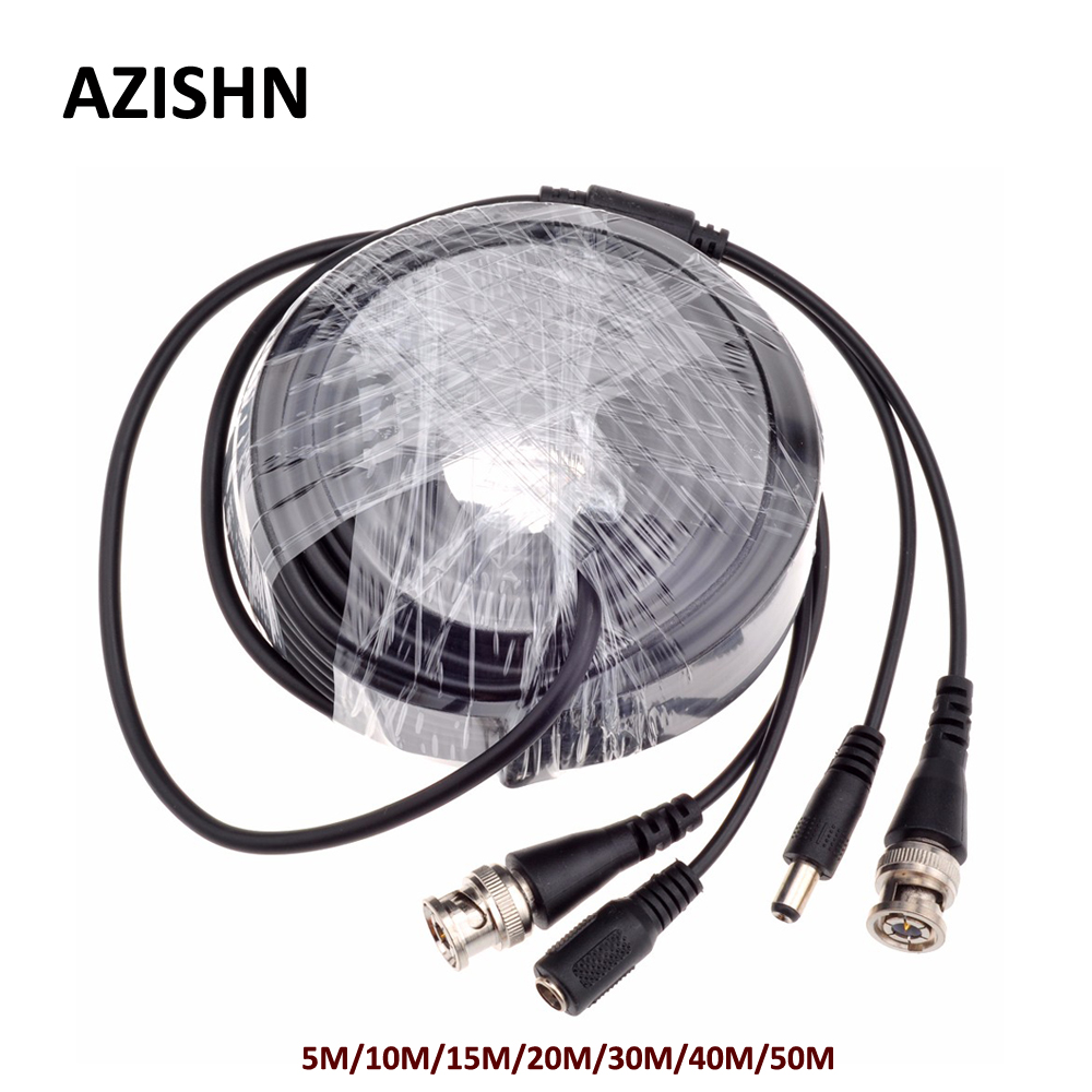 AZISHN CCTV BNC alimentación/video Cable 5 M/10 M/15 M/20 M/30 M/40 M/salida de Cable de video CCTV 50M Cable con enchufe CC para AHD/cámara de circuito cerrado de TV analógica Superbat, Radio Móvil para vehículo/coche VHF/UHF, antena de doble banda 9cm, Base magnética, conector macho BNC de 5M, Cable para escáner BC125AT