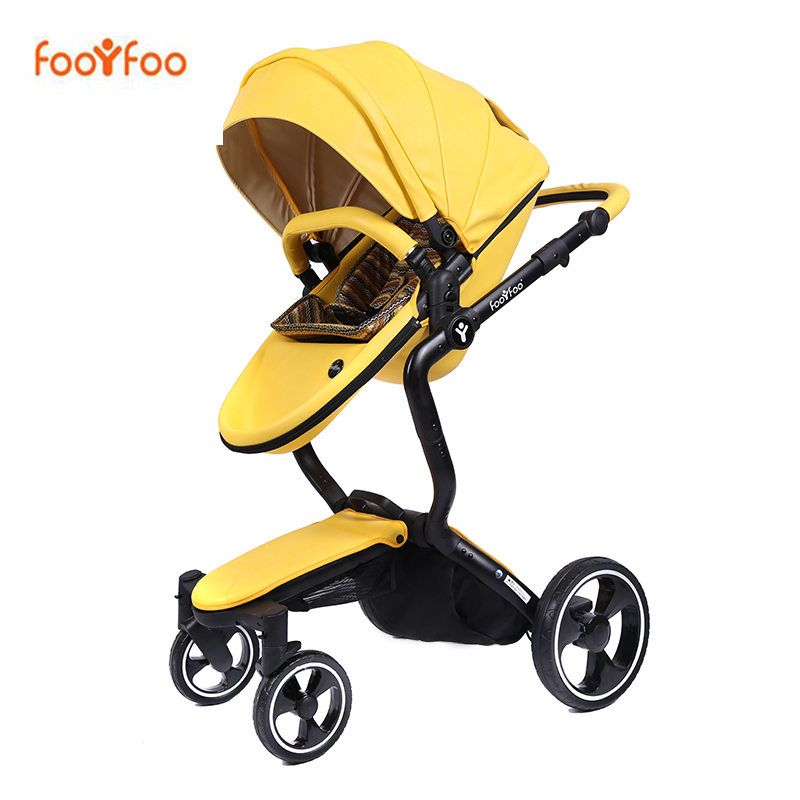 Foofoo Baby Stroller High Landscape Baby Trolley Leather