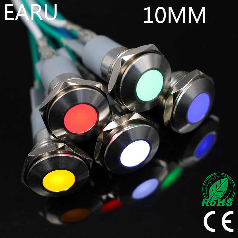 1pc 10mm Waterproof IP67 LED Metal Indicator Light Illuminated Pilot Signal Lamp 3V 5V 6V 12V 24V 220V Machine Car Boat PC Power