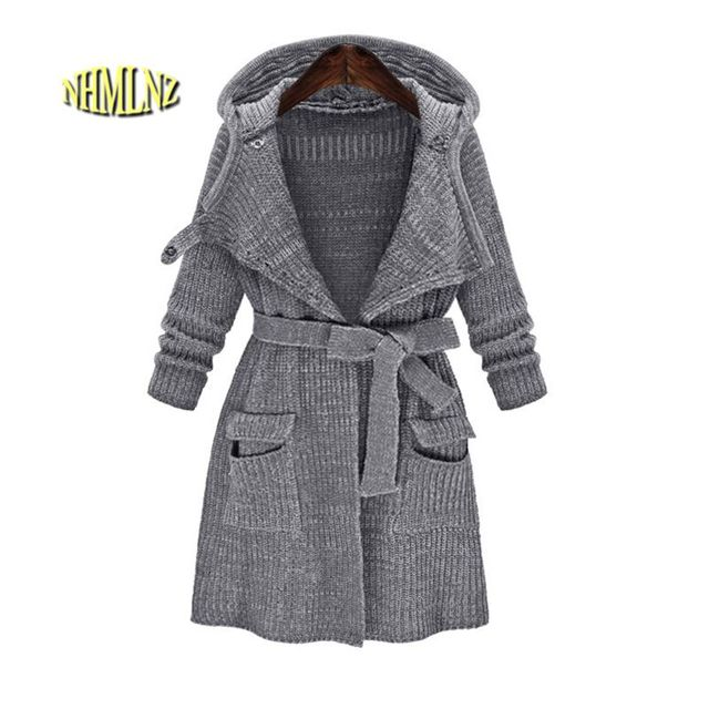 efb0c30a57 Winter Sweater Latest Fashion Autumn Women Sweater Hooded Thick Warm Sweater  Loose Big size Cardigan Sweater Coat Women G2820