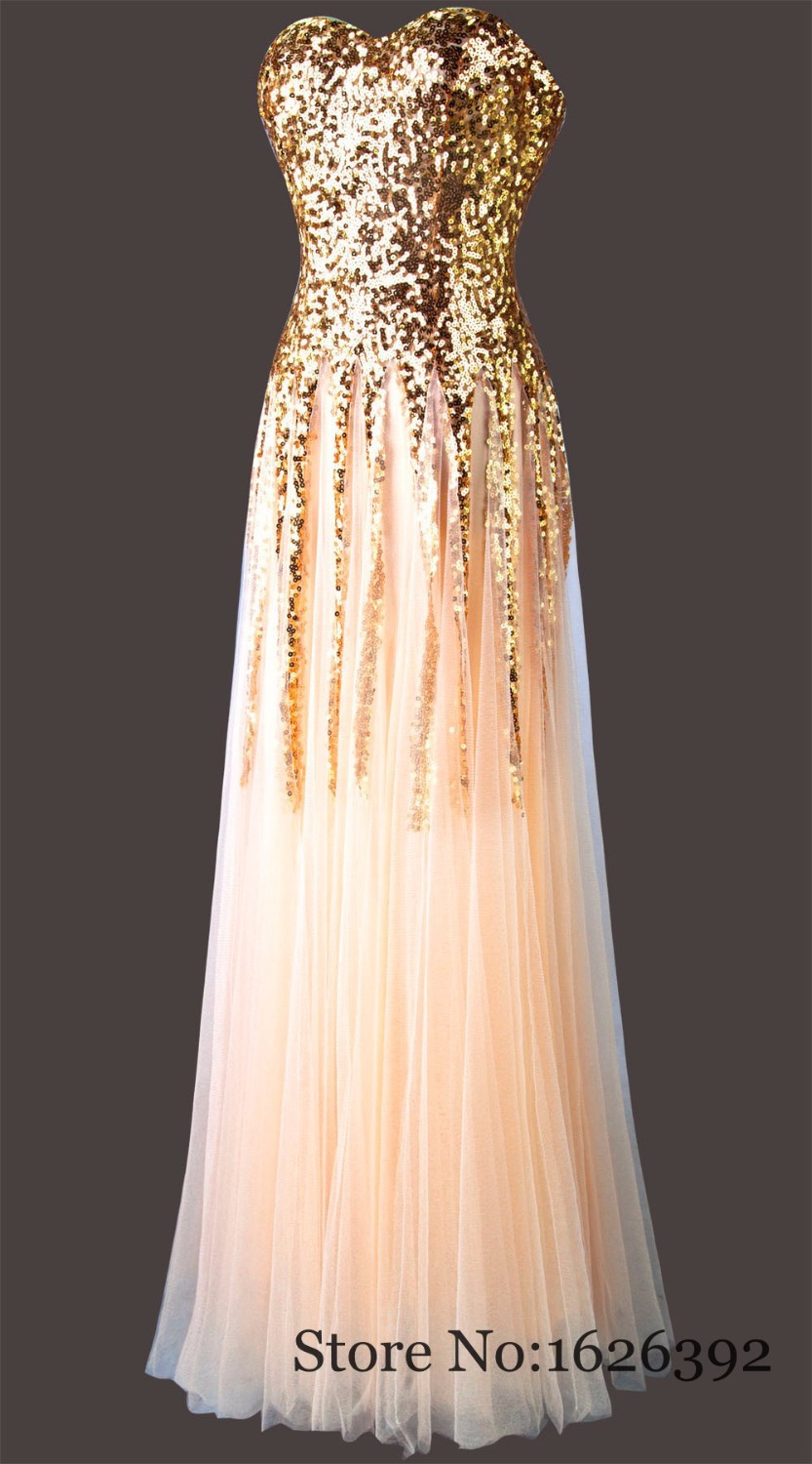 On Sale Plus Size Evening Dress Real Images Gold Sequined Tulle Prom ...